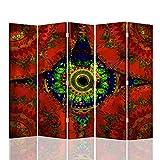 F FEEBY WALL DECOR Foto Biombo Dibujo 5 Paneles Unilateral India Oriental Rojo 180x175 cm