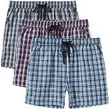 JINSHI Pantalones Cortos Mujer Verano Pijamas Algodón a Cuadros Casa Pantalones Shorts de Salón con ...
