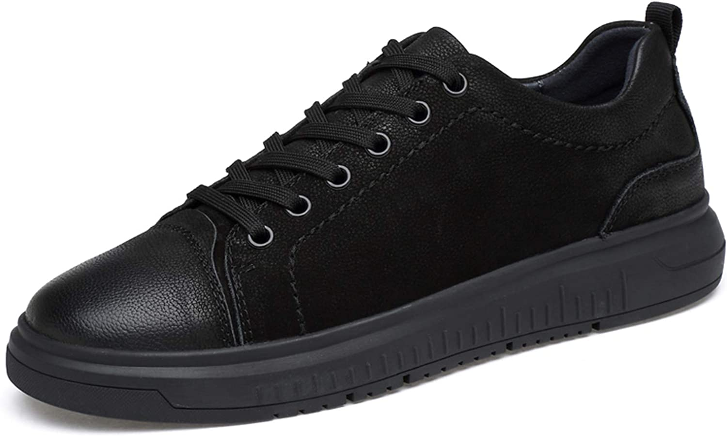 shoes house Leather cross trainer non-slip low-neck sneakers black lace-up oxford size 37-44,Black,EU42 US8.5(M) UK8
