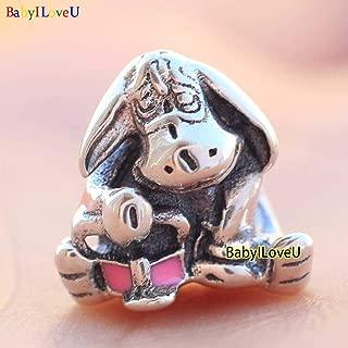 S925 Sterling Silver Disne Eeyore Charm Pink Enamel Bead Fit European Bracelet