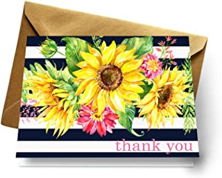 Sunflower Thank You Cards and Gold Envelopes (Pack of 20) Weddings Baby Shower Rustic Special Celebrations