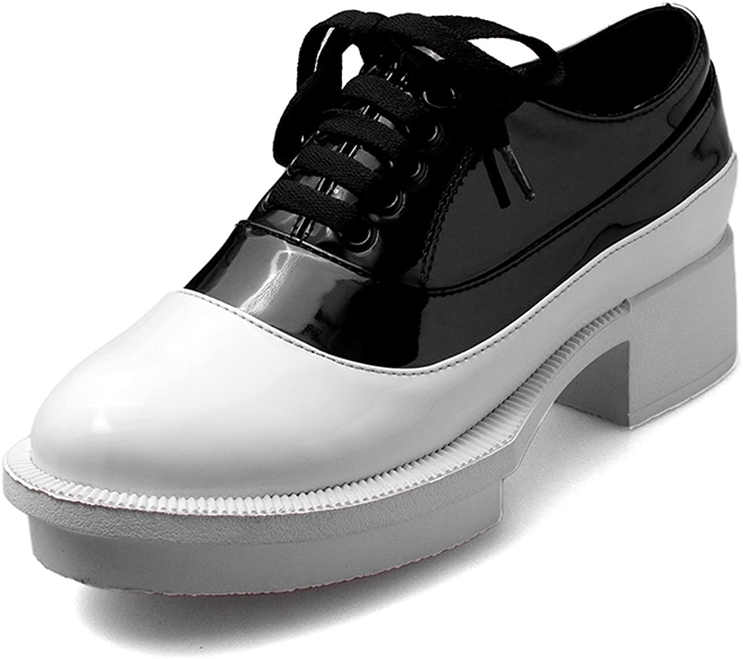 DecoStain Women's Fashion Comfortable Patent Leather Low Heels Platform Sneakers Lace Up Creepers Sports Jogging Walking Trainers shoes