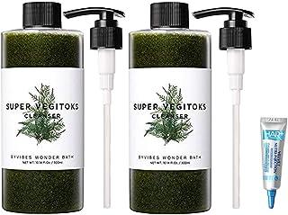 WONDER BATH Super Vegitoks Cleanser 300ml/ワンダーバス スーパー ベジトックス クレンザー 300ml X 2個 (#本品+ポンプ) [並行輸入品] + HairPlus treatment 15ml