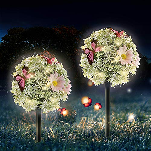 OKEER Solar Lights Outdoor - 2 Pack Solar Garden Butterfly Flower Ball Stake Lights Waterproof LED Decorative Solar Landscape Lights for Walkway Pathway Backyard Christmas Party Decor(Warm White)