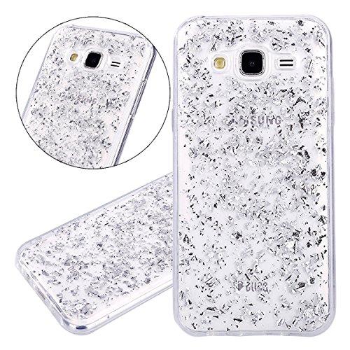 ISAKEN Compatibile con Samsung Galaxy J5 2015 Custodia - Ultra Sottile Morbida TPU Cover Transparent Caso Glitter Bling Custodia Case Protezione Posteriore Case Cassa Bumper - Argento