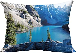 YouXianHome Sofa Waist Cushion Cover Banff NATI al Park Canada Mounta Valley The Ten Peaks Blue Green G Decorative for Kids Adults(Double-Sided Printing) 31.5x31.5 inch