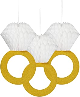 Glitter Gold Honeycomb Diamond Ring Hanging Decorations (3 Pieces) Bachelorette Party Engagement Party Bridal Shower Wedding Anniversary Supplies