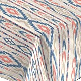 Mantel de Tela resinada Antimanchas, Impermeable, Estampados Tribales (140_x_250_cm, Ibiza Rojo Azul)