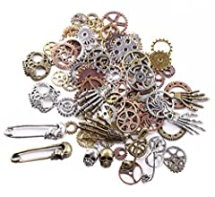 "Sold in ""Gram"", 140g includes around 92pcs antique gears(quantity may vary due to different sized gear but weight is 140 gram). Width:approx. 0.39""-1.1""; Length: approx. 0.39""-2"". Color: mixed color, gold, silver, antique bronze,red copper. Perfect f..."