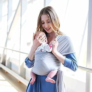 オールシーズン通気性ベビースリングラップベビーキャリア、新生児 乳幼児 赤ちゃん抱っこひも ババスリング 使いやすい 安全 持ち運び便利 同色布袋詰め、理想的なギフト