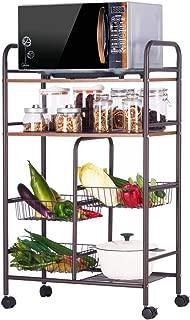 SINGAYE Wire Rolling Kitchen Cart Kitchen Island Trolley with Baskets,Locking Wheels Wood/Carbon Steel