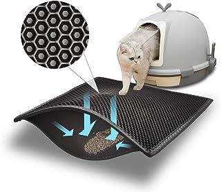 Pieviev Kattsandmatta, kattlåda, matta av stor storlek, dubbla lager, vaxkaka, design med stora hål, vattentätt EVA-materi...