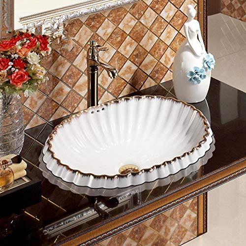 Rjbzd Porzellankunst Muschel Wie Goldene Spitze Weiße Runde Keramik Waschbecken Waschbecken Künstlerische Becken Oval