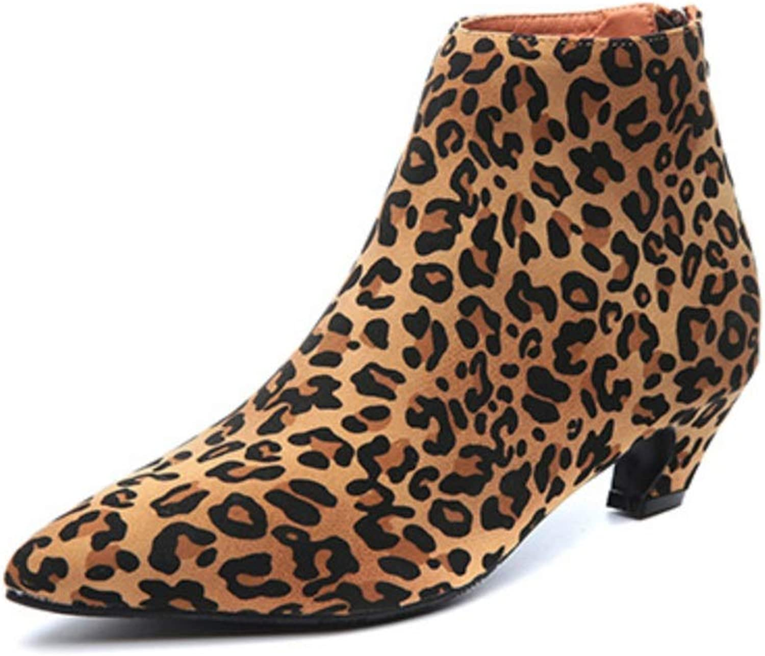 Women Boots shoes Sexy Pointed Toe Leopard Women Boots Strange Kitten Heel Ankle Boots Women Suede Leather Booties Woman