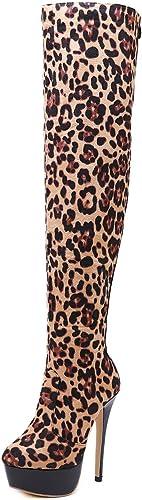 YAN Damen Stiefeletten Mode Mode Mode über Das Knie Plattform Stiefel Sexy Wildleder High Heel Damen Stiefel Hochzeit Party & Abendkleid Schuhe  Online-Shopping-Sport