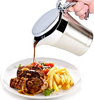 iFCOW Salsera de acero inoxidable con aislamiento térmico salsa de doble pared olla de salsa jarra cubo de jarra para suministros de cocina