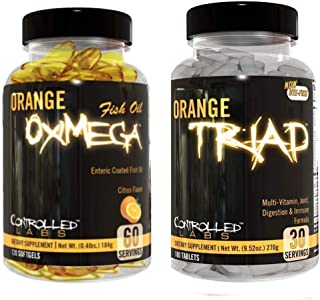 Controlled Labs Overall Health Bundle, 30 Servings Orange Triad, 120 Count Orange Oximega Fish Oil, Muscle Building and Recovery Supplement for Men and Women