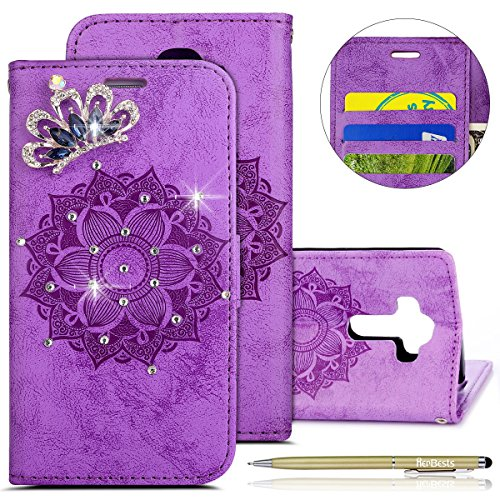 Kompatibel mit Hülle LG G4 Klapphülle Leder Flip Case Glitzer Bling Glänzend Kristall Strass Diamant Mandala Blumen Muster Handyhülle Brieftasche Bookstyle Ledertasche,lila