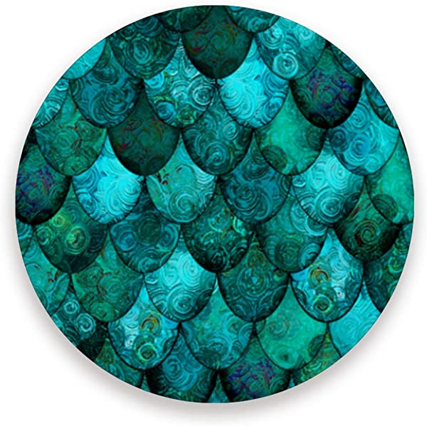 Dark Teal Dragon Scales Ceramic Coasters For Drinks Round 4 Piece Coaster Set