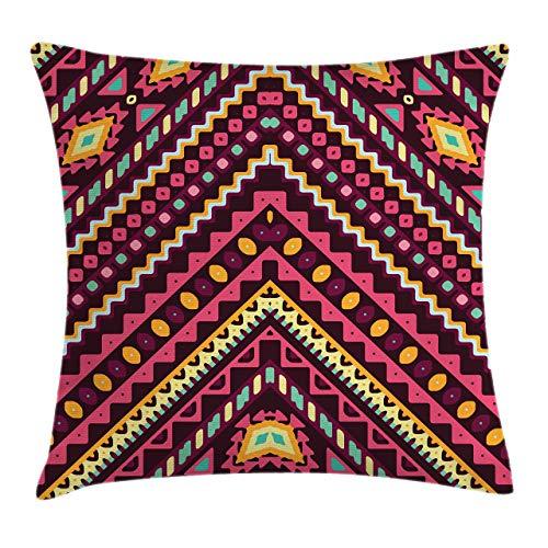 Fundas de almohada con estampado 3D, patrón de chevrón con adornos, arte hippie prehistórico bohemio, fundas de cojín cuadradas decorativas para sofá,decoración del hogar Acción de Gracias Navidad