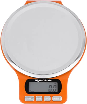 LCD Digital Electronic Kitchen Scale Stainless Steel Tray High Precision Food Fruit Weighing(Orange)
