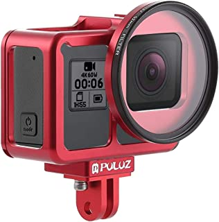 XIEWEI Insurance Frame with Housing Shell CNC Aluminum Alloy Protective Cage & 52mm UV Lens for GoPro HERO7 Black /6/5(Black) (Color : Red)