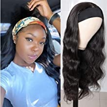 22 Inch 150% Density Headband Wig Virgin Human Hair Body Wave Wigs with 5 Styles Headbands Attached for Black Women Machine Made Natural Black None Lace Wig