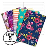 Field Notebook/Pocket Journal - 3.5'x5.5' - Assorted Patterns - Lined Memo Book - Pack of 5