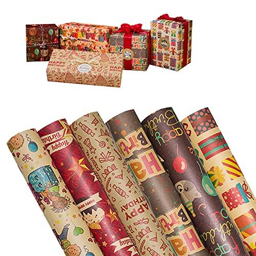 Geburtstag Geschenkpapier Set 6 Rollen 70 x 50cm Geschenkpapier Kinder für Geburtstags Geschenk Verpackung Kraftpapier Geschenkpapier für Kindertag, Valentinstag, Muttertag, Weihnachten