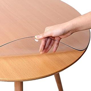 Nappe de protection en PVC transparent pour table ronde, imperméable, résistante à l'huile, résistante à la chaleur, lavab...