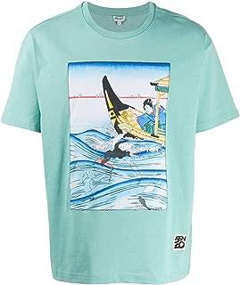 KENZO Luxury Fashion Mens FA55TS0434SF60 Light Blue T-Shirt |