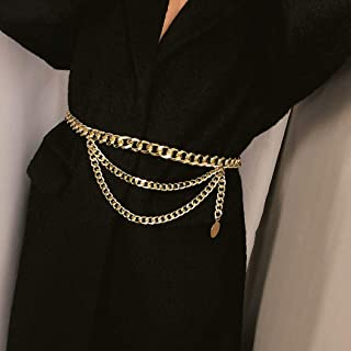 Edary Layered Waist Chain Gold Belly Body Chain Simple Belt Jewelry for Women and Girls