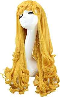 ColorGround Women's Prestyled Long Curly Yellow Cosplay Wig