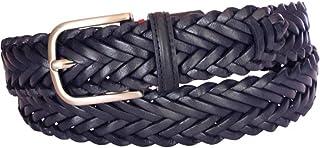 ESPERANTO Cintura in Cuoio Intrecciato a mano con Punta in Treccia altezza 3,5 cm nichel free