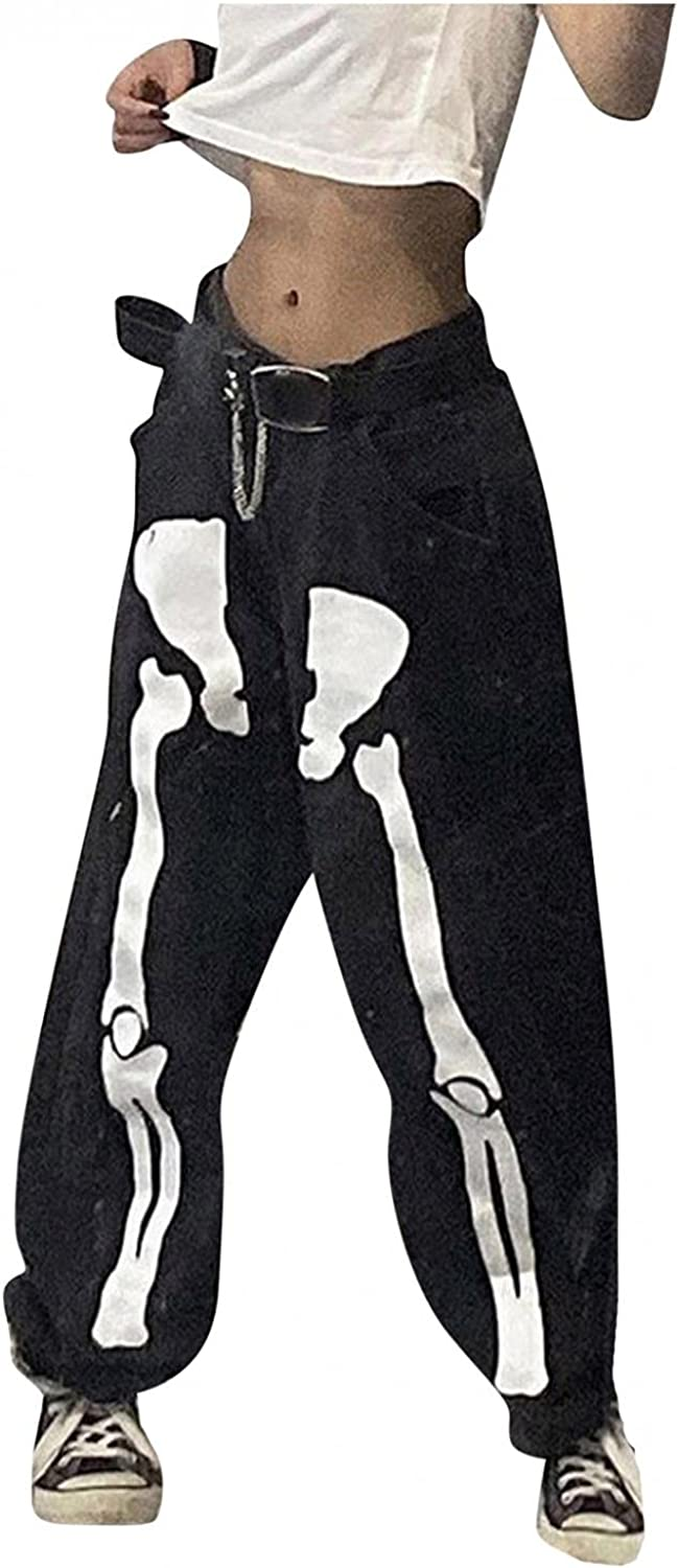 Y2K Fashion Jeans,Women Skeleton Skull Mid Waist Straight Trousers 90s Vintage Goth Y2K Joggers Pants Casual Baggy Jeans