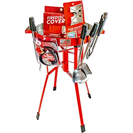"""FIREDISC Ultimate Backyard Bundle   Includes Original 36"""" Tall FireDisc Propane Cooker Red   FireDisc Cover   Ultimate Cooking Accessories"""
