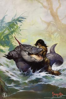 Frank Frazetta Monster Out of Time Science Fiction Fantasy Artwork Crocodile Alligator Barbarian Comic Book Cover Cool Wall Decor Art Print Poster 12x18