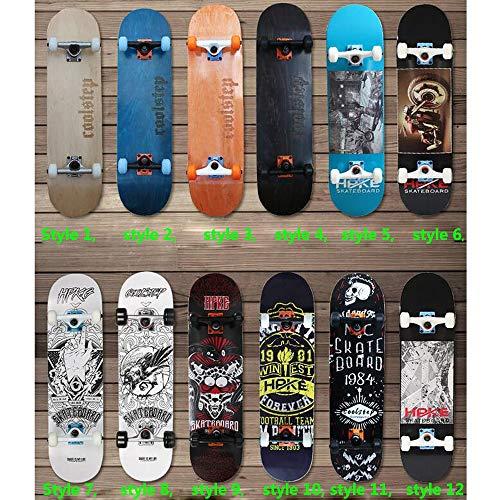 QHQS Skateboard, Double Kick Trick Adultos Chicas Niños Chicos Locos en Cada...