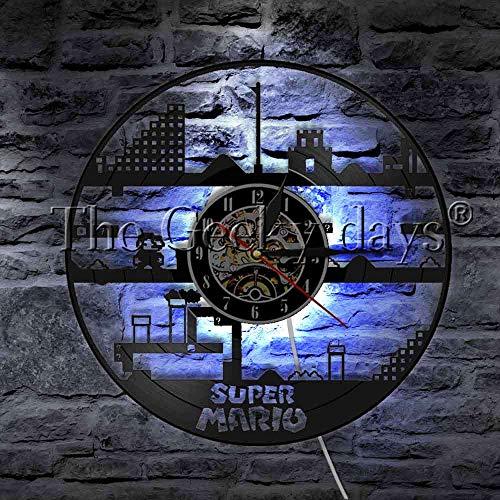 1 Stück Pilz Retro Abenteuer Action Spiel Vinyl Schallplatte Wanduhr Moderne Wandleuchte Videospiel LED Nachtlicht
