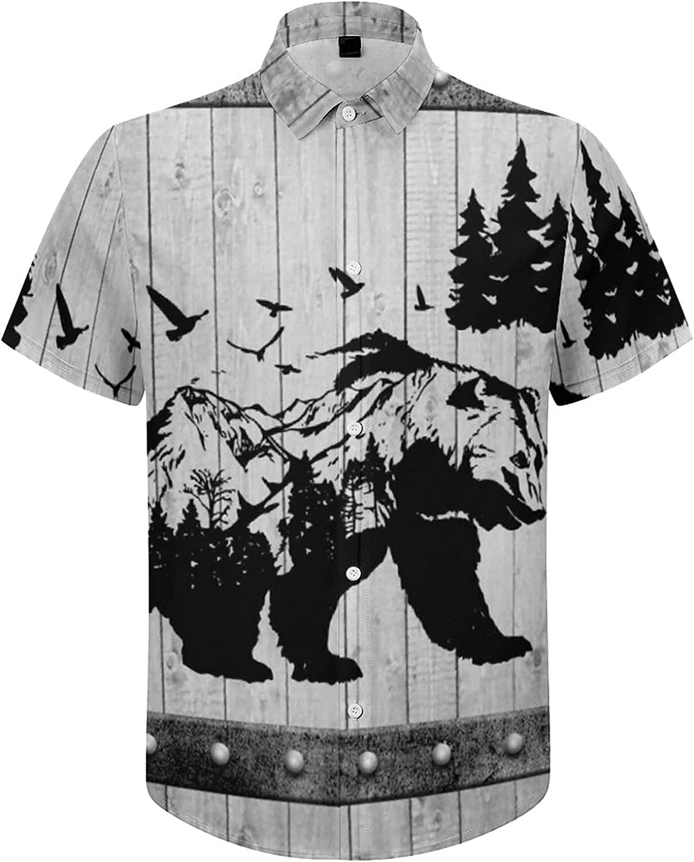 Mens Button Down Shirt Bear Wild Animals Mountains Casual Summer Beach Shirts Tops