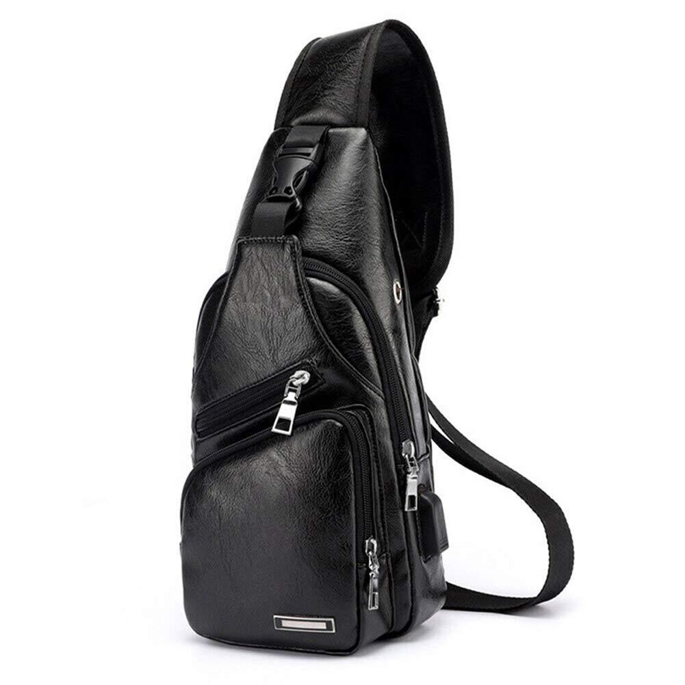 Leobtain Mens Sling Bag PU Leather Vintage Elegant Crossbody Backpack Purse with USB Charging Port and Headphone Port Chest Shoulder Bag for Business Casual Sport Travel