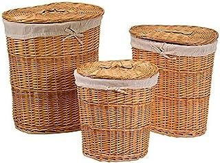 Vacchetti 1920680000 Lot de 3 paniers en Osier, Blanc, Moyen, en Osier