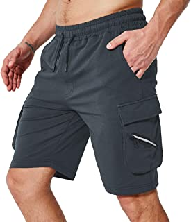 KEFITEVD Men's Workout Shorts Casual Running Shorts Breathable Gym Shorts with Cargo Pockets
