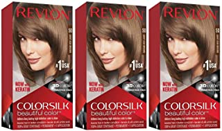 Revlon Colorsilk Beautiful Color, Permanent Hair Dye with Keratin, 100% Gray Coverage, Ammonia Free, 50 Light Ash Brown (Pack of 3)