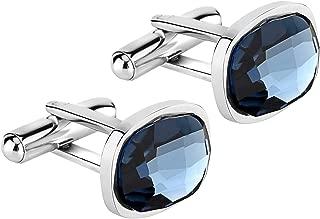 Elegant Tuxedo Cufflinks Premium & Deluxe Genuine Swarovski Crystals Elements, for Formal Outfits, Suits, Weddings & Work, Blue, Crystal Grey,