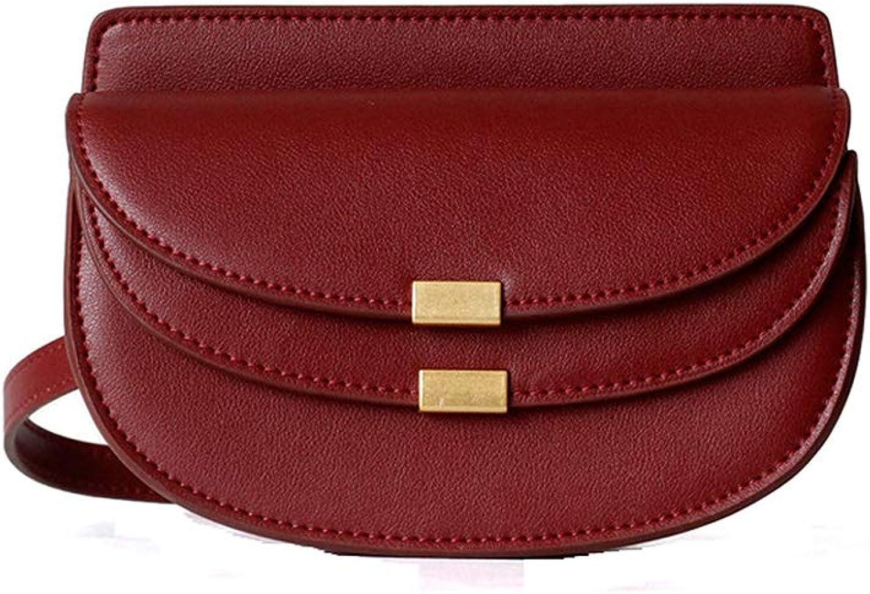 Onzama Women's Genuine Leather Shoulder Bags Designer Mini Crossbody Saddle Purse Cute Lune Chain Clutches