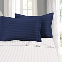 Cloth Fusion Amor 210 TC Satin Stripe Cotton Pillow Covers Set of 2 Pieces (18×27 Inch, Navy Blue)