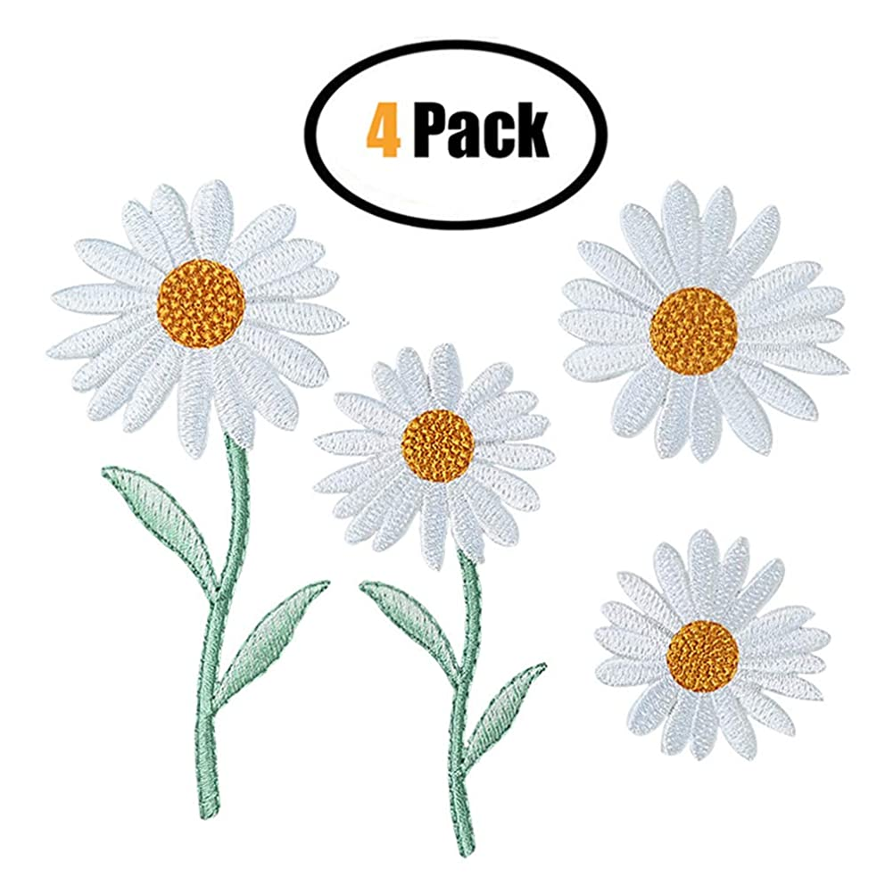 4 Pcs White Daisy Delicate Embroidered Patches, Embroidery Patches, Iron On Patches, Sew On Applique Patch,Cool Patches for Men, Women, Boys, Girls, Kids