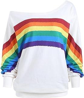 Lenfesh Sudadera de Estampado arcoíris Mujer Camisetas Tops Manga Larga sin Hombros para Mujer Sudadera Casual de otoño In...