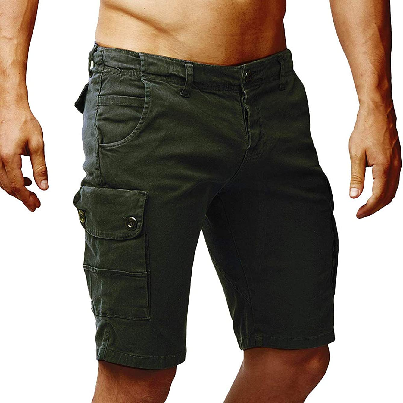 iYYVV Mens Cotton Button Work Multi Pockets Loose Overalls Cargo Shorts